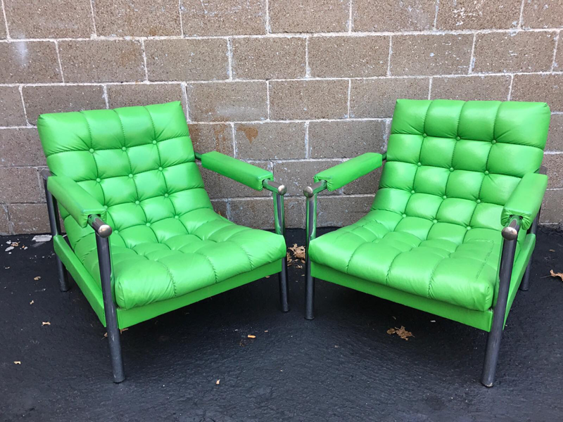 Late mid-century chairs in a fab green.