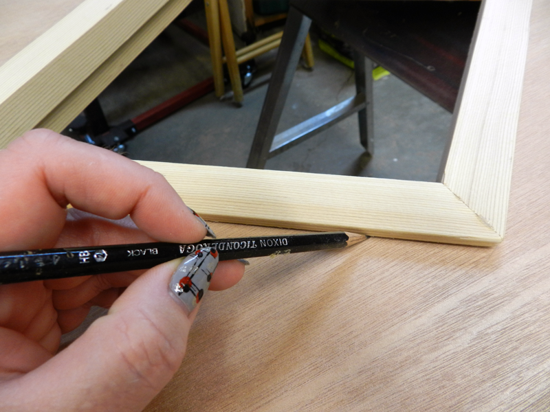 Draw a line at the end of the exterior frame after you've finished your fitting.