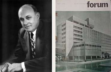 Carl Strandlunhd with the May1949 issue of Architectural Forum