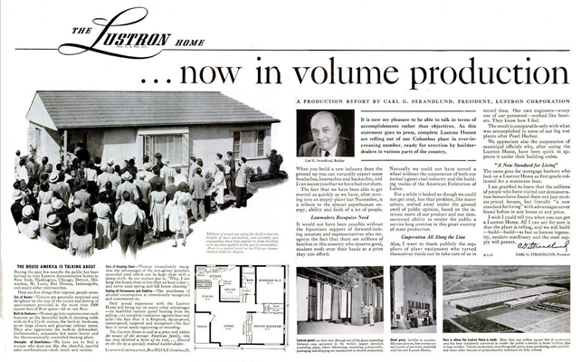 Life Magazine two page spread in the November 15, 1948 issue touting full volume production.