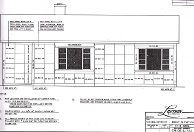 Page from the Lustron construction drawings showing panel locations.