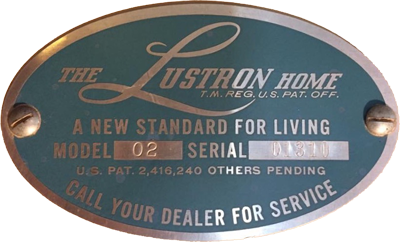 A plaque found in the utility room of all homes which listed the model and the serial number of the lustron house, similar to a VIN on a car. (Image via the Lustron of Bust website)