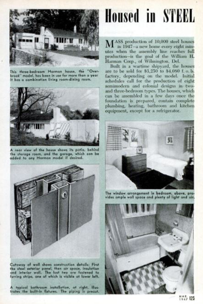 The mass-produced Harmon House from the March 1947 issue of Popular Science.