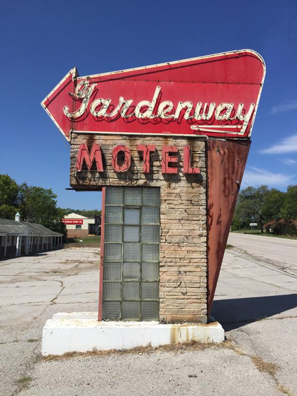 Original Gardenway Motel neon signage.