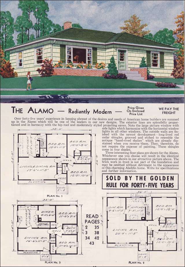 1951 Aladdin Kit Home - The Alamo - You'll see time and again how shutters are used decoratively but only on the front face. Kind of like faux brick facades today?
