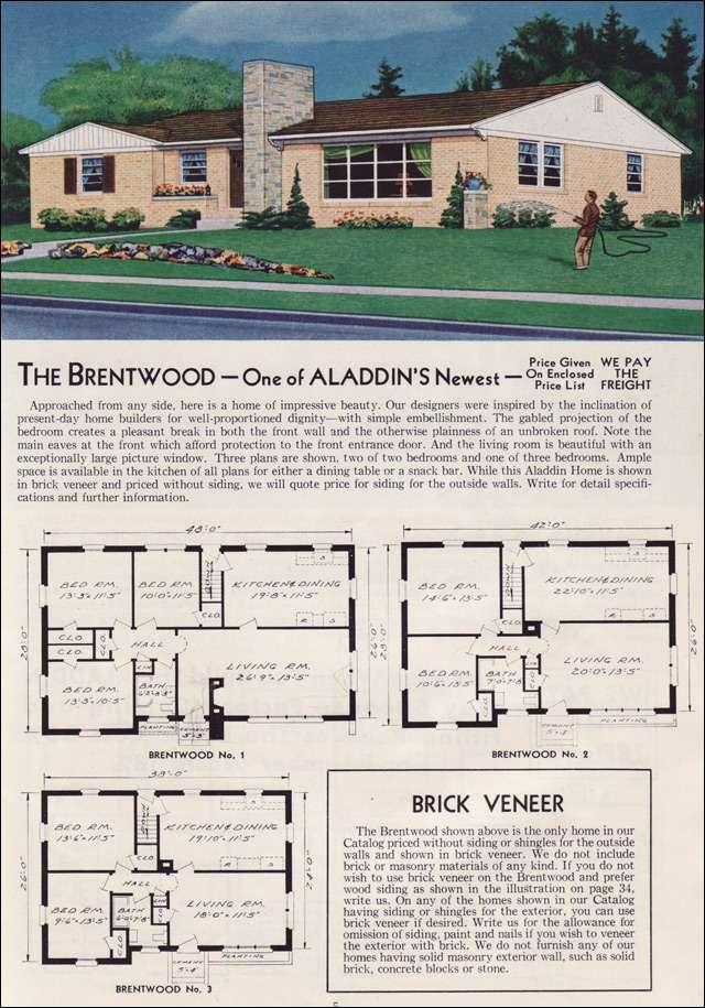 1951 Aladdin Kit Home - The Brentwood - here they are using shutters on the front and only on the appropriate window.