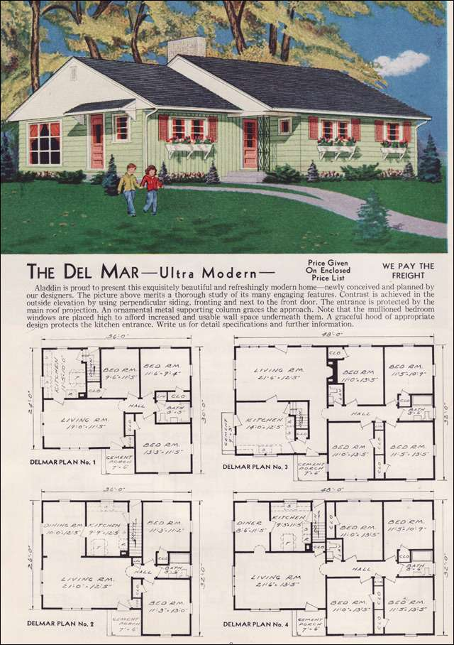 1951 Aladdin Kit Home - The Del Mar - Shutters everywhere on the front! But that color scheme - dreamy.