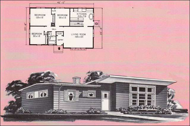1961 Weyerhauser Plans No 5136 - even I'll admit that this one is a little crazy. Check out that small windows next to the door that only has one shutter? Maybe it's correct, but I think that looks weirder than shutters on a picture window!