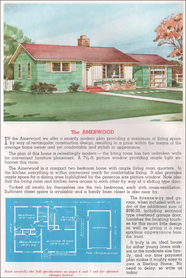 1962 Sterling Homes - The Amerwood - With this final image, you'll see that decorative shutters were a thing all throughout the late '40s into the '60s. Love it or hate it, it is historically accurate for the time.