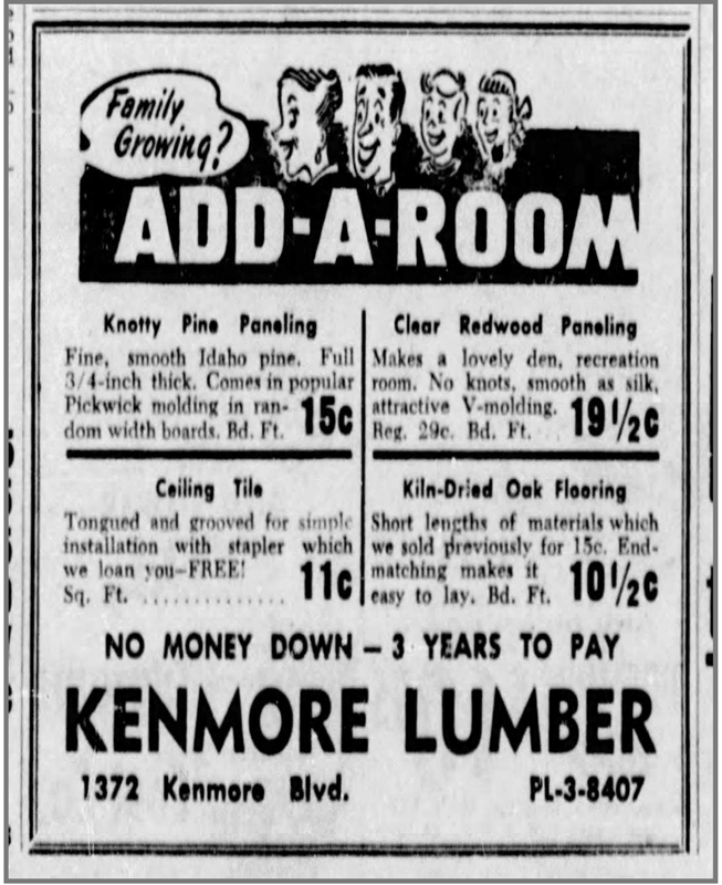 Kenmore Lumber Ad - October 27, 1954, Page 38 - The Akron Beacon Journal