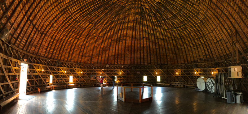 A panoramic photo of the inside of the Arcadia Round Barn in Arcadia, Oklahoma.