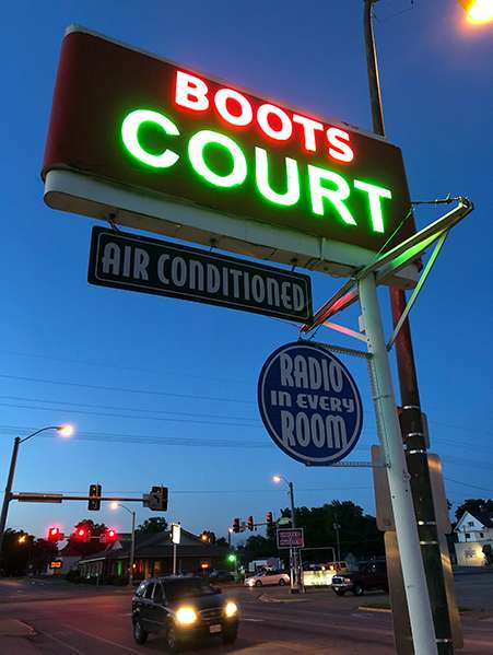 Boot Court Motel sign.