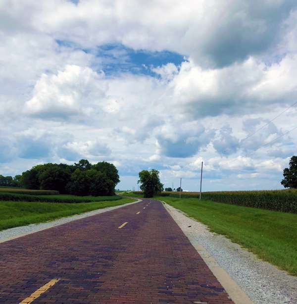 1.4 miles of brick-paved Route 66 in Auburn, Illinois.