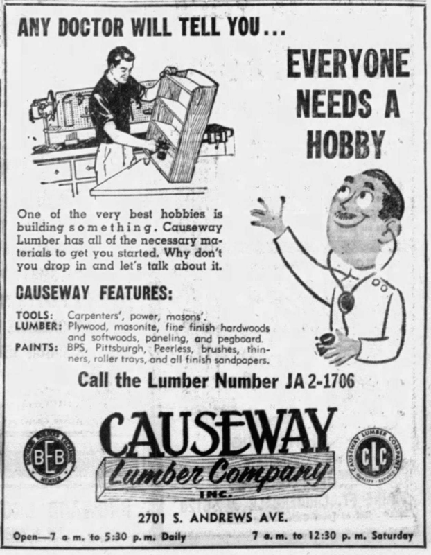 Causeway Lumber Company ad - October 21,  1956, Page 49 - Fort Lauderdale News