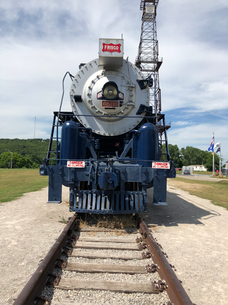 Check out the Frisco train at the Route 66 Village in Tulsa, Oklahoma.