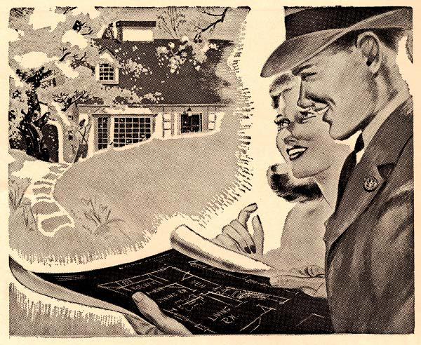 A veteran and his wife look at plans and dream about their future in their new home financed by a G.I. Bill loan. (Folder 19, Box 37, Defense Council Records, OSA)