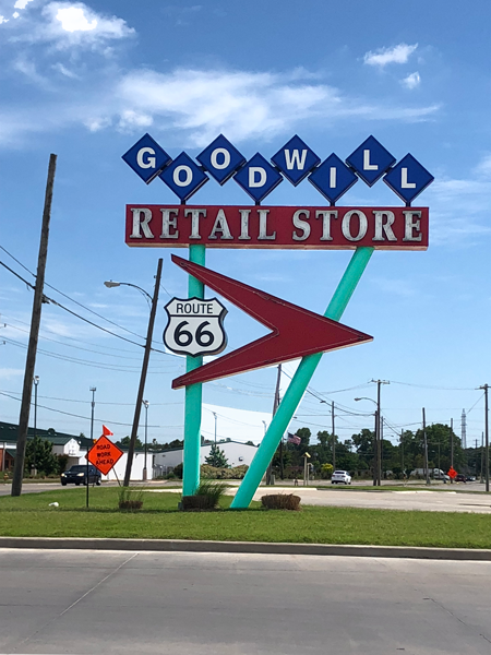 A new, but throw-back sign for the Goodwill in Tulsa, Oklahoma.