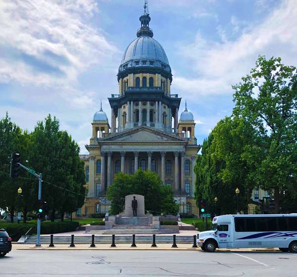 The head of the downtown business district in Springfield, the Illinois capitol building.