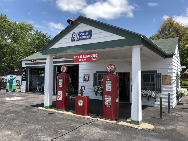 Restored Texaco station in Dwight, Illinois.