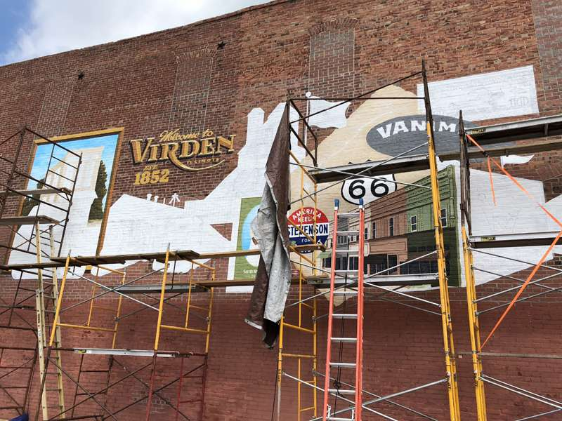 Mural progress in Virden, Illinois.