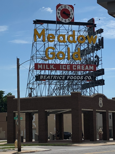 The restored MeadowGold sign in Tulsa, Oklahoma.