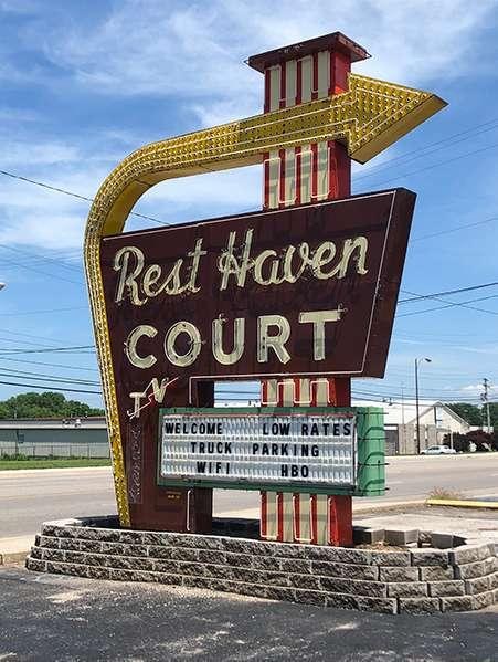 Rest Haven Court sign in Springfield, Missouri.