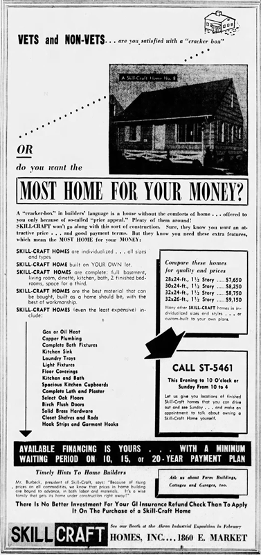 SkilCraft Homes Ad - January 21, 1950, Page 16 - The Akron Beacon Journal