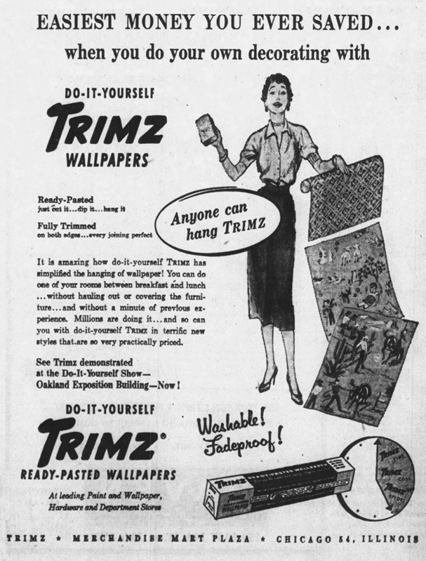 Ad for Trimz Wallpaper. November 15, 1953, Page 74 - Oakland Tribune