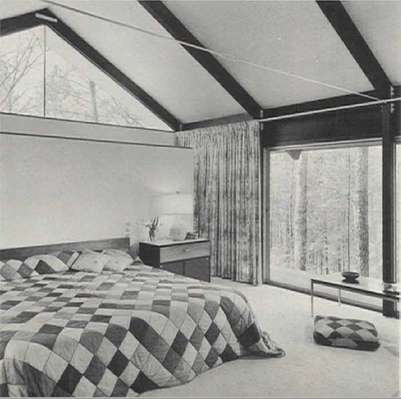 Master bedroom with gable-end clerestory window. (13)
