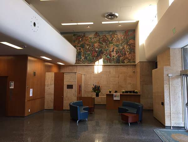 Golden State Life Insurance Lobby where you can see some Modernist influences